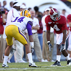 November 6, 2010; Baton Rouge, LA, USA;  Alabama Crimson Tide wide receiver Marquis Maze (4) lines up against LSU Tigers cornerback Tyrann Mathieu (14) during the second half at Tiger Stadium. LSU defeated Alabama 24-21.  Mandatory Credit: Derick E. Hingle