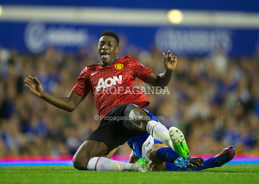 LIVERPOOL, ENGLAND - Monday, August 20, 2012: Everton's Phil Jagielka in action against Manchester United's Danny Welbeck during the Premiership match at Goodison Park. (Pic by David Rawcliffe/Propaganda)