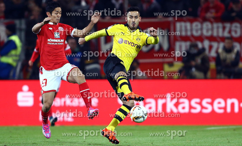 16.10.2015, Coface Arena, Mainz, GER, 1. FBL, 1. FSV Mainz 05 vs Borussia Dortmund, 9. Runde, im Bild Yoshinori Muto (FSV Mainz 05) im Zweikampf mit Ilkay Guendogan (Borussia Dortmund) // during the German Bundesliga 9th round match between 1. FSV Mainz 05 and Borussia Dortmund at the Coface Arena in Mainz, Germany on 2015/10/16. EXPA Pictures &copy; 2015, PhotoCredit: EXPA/ Eibner-Pressefoto/ Neis<br /> <br /> *****ATTENTION - OUT of GER*****