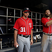 NEW YORK, NEW YORK - July 10: Jayson Werth #28 of the Washington Nationals in the dugout preparing to bat with Max Scherzer #31 of the Washington Nationals during the Washington Nationals Vs New York Mets regular season MLB game at Citi Field on July 10, 2016 in New York City. (Photo by Tim Clayton/Corbis via Getty Images)