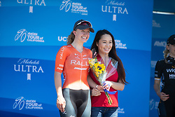 Emma White (USA) of Rally Cycling celebrates her second place in Stage 1 of the Amgen Tour of California - a 124 km road race, starting and finishing in Elk Grove on May 17, 2018, in California, United States. (Photo by Balint Hamvas/Velofocus.com)