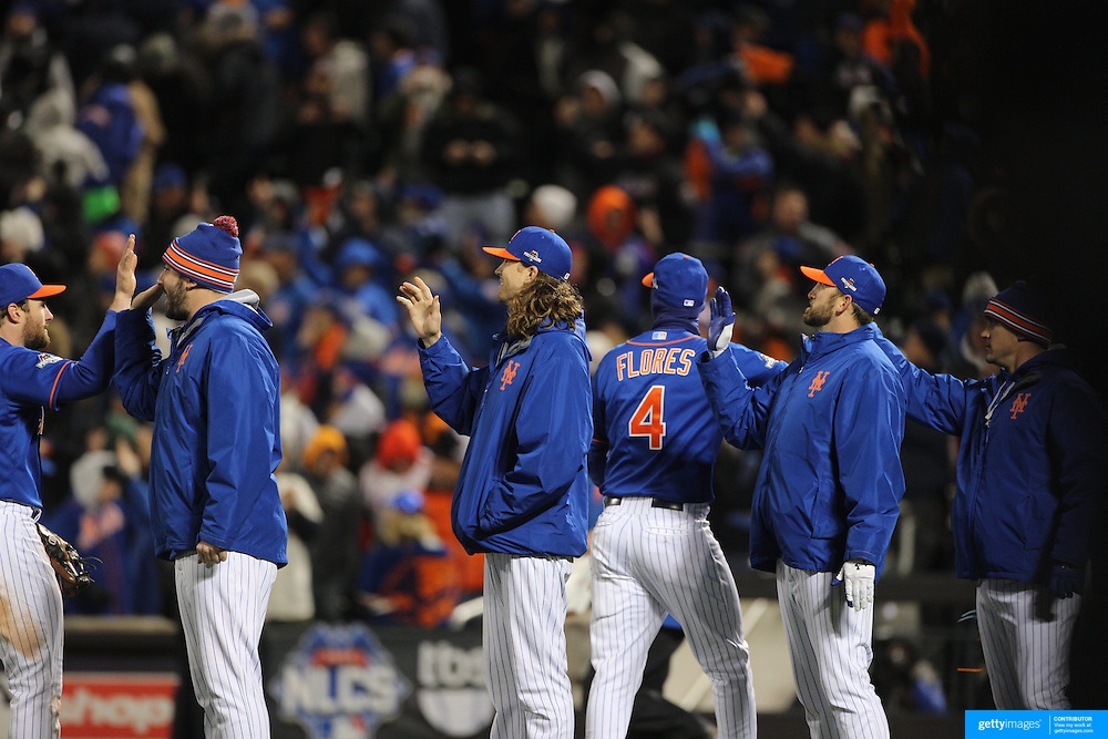 New York Mets players celebrate victory during the MLB NLCS Playoffs game two, Chicago Cubs vs New York Mets at Citi Field, Queens, New York. USA. 18th October 2015. Photo Tim Clayton