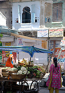 A woman selling fruit and vegetable at a stand in the old part of Udaipur, Rajasthan, India