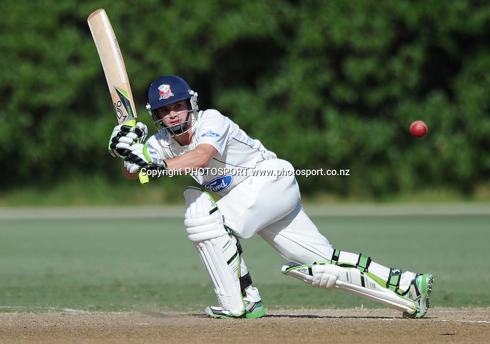 Auckland's Bradley Cachopa batting. Plunket Shield domestic cricket match, Auckland Aces v Canterbury Wizards. Colin Maiden Park, Auckland. Thursday 31 March 2011. Photo: Andrew Cornaga/photosport.co.nz