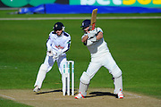 Hampshire's Adam Wheater and Warwickshire's Chris Woakes during the Specsavers County Champ Div 1 match between Hampshire County Cricket Club and Warwickshire County Cricket Club at the Ageas Bowl, Southampton, United Kingdom on 12 April 2016. Photo by Graham Hunt.