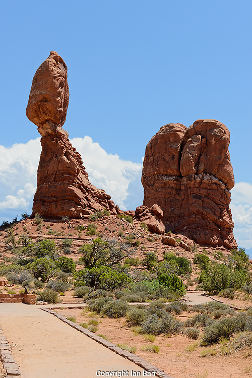 Balanced Rock, Arches National Park, Natural rock formations, Utah, USA.