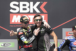 September 15, 2018 - Algarve, Portugal, Portugal - 1 Jonathan Rea Kawasaki ZX-10RR Kawasaki Racing Team  celebrate on the podium at the end of the race 1 during the World Superbikes race at Autodromo Internacional do Algarve, 14-16 September 2018 in Algarve, Portugal. (Credit Image: © Fabio Averna/NurPhoto/ZUMA Press)