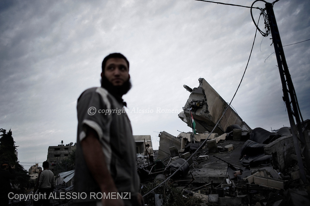 Gaza City: The rubbles of what was the office of the Hamas' Gaza Prime Minister, Ismael Haniyeh after an overnight Israeli airstrike. November 17, 2012. ALESSIO ROMENZI