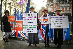 © Licensed to London News Pictures. 29/01/2019. London, UK. Brexit campaigners dressed as Suffragettes gather outside the Houses of Parliament in Westminster, London. MPs will today (Tues) vote on a series of amendments to the Prime Minister's plans that could shape the future direction of Brexit. . Photo credit: Ben Cawthra/LNP