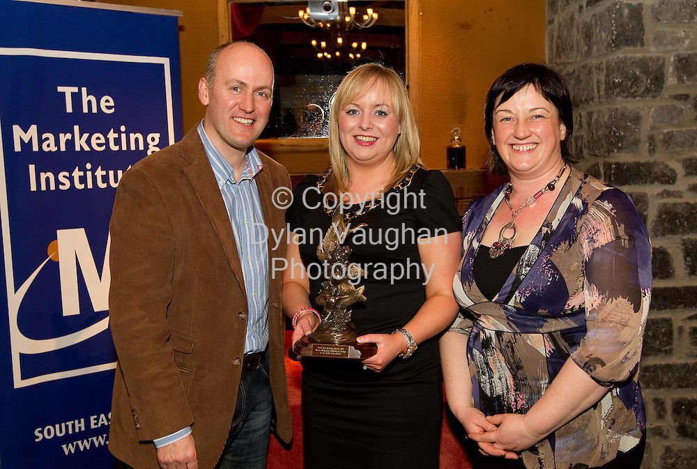 "12/3/2010.Pictured at the Marketing Institute of Ireland South East Marketing awards at Mount Juliet recently are from left Tom Banville of Wexford County Enterprise Board, Winner of the Margaiocht-Marketing as Gaeilge in the Public Sector, Glor Cheatharlach represented by Emma Whitmore and Chair of the Marketing Institute, Paula Ronan of Angel Marketing..Picture Dylan Vaughan..For Immediate Release. .Winners of the South East Marketing Awards were announced this weekend at a presentation event in Mount Juliet, Co. Kilkenny.. .Organised by the Marketing Institute of Ireland South East Region, the awards set out to showcase great marketing in the region and to celebrate what has been achieved by marketing professionals here.. .Entries were called on from Waterford, Wexford, Kilkenny, Carlow and South Tipperary.. .The judging panel was chaired by Dr. Tom O'Toole, head of the Business School in WIT and included Tom Banville of Wexford County Enterprise Board, Michele Neylon of Blacknight, Tim Hasset of WLR and Richie O'hEadhra of Na Macallaí.. .Chair of the Marketing Institute, Paula Ronan of Angel Marketing commented ""It is very encouraging to see the interest in marketing now and the general rise in the standard of marketing across the region. Businesses have already made a lot of tough decisions over the last couple of years, reducing their cost base to make their outfits leaner. Now it's time for every organisation to look outward, to our customers and competitors and to focus on the marketing strategies and tactics we can employ to compete more effectively and to secure our futures in the marketplace."". .The South East Marketing Awards was sponsored by  DoneDeal.ie, Sam McCauley's, Waterford Stanley, Caulfields Supervalu and Foras na Gaeilge.. .The geographical spread of the finalists showed 8 businesses from Wexford, 9 from Waterford, 2 from Carlow and 2 from Kilkenny. There were 2 winners from Carlow, 3 from Waterford and 2 from Wexford."
