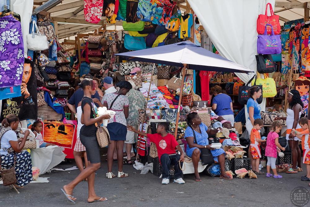 People shopping at Prince George Wharf, Nassau, Bahamas.