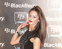 Jessica Jane Clement was attending Blackberry's BBM Event - a celebration of the smartphone's free instant messaging app. The Bankside Vaults, London, UK. April 03, 2012. (Photo by Brett Cove)