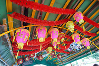 Lanterns decorating interior of Sampan Aberdeen Fishing Village Hong Kong Hong Kong August 2008