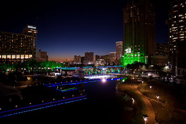 Stock photo of Discovery Green park at night during the holiday season