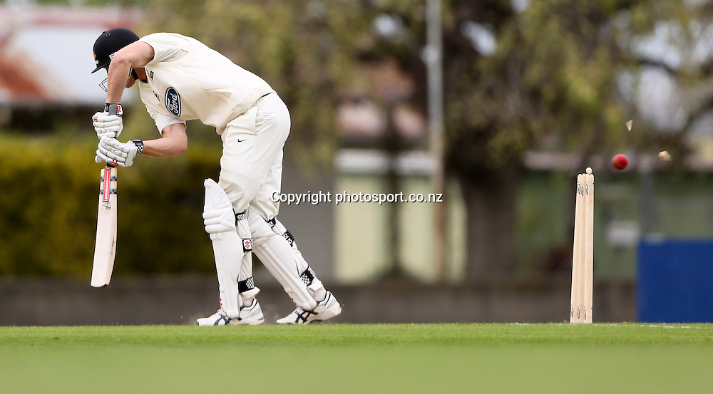 Wellington's Michael Pollard is bowled in the Plunket Shield cricket match between the Central Districts Stags and the Wellington Firebirds at Nelson Park, Napier,  New Zealand.Monday, 29 October, 2012. Photo: John Cowpland / photosport.co.nz