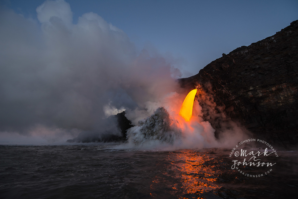 Spectacular lava flow into the ocean at Kamokuna, Big Island, Hawaii