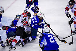 22-02-2018 KOR: Olympic Games day 13, PyeongChang<br /> Final Ice Hockey Canada - USA 2-3 / Lee Stecklein #2 of the United States, Brianna Decker #14 of the United States, Jocelyne Larocque #3 of Canada, Madeline Rooney #35 of the United States