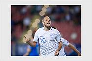Teemu Pukki celebrates a late winning goal. Kosovo - Finland. Shköder, Albania, September 5, 2017.