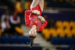 October 28, 2018 - Doha, Quatar - Yile Chen of  China   during  Floor qualification at the Aspire Dome in Doha, Qatar, Artistic FIG Gymnastics World Championships on 28 of October 2018. (Credit Image: © Ulrik Pedersen/NurPhoto via ZUMA Press)