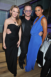 Left to right, KYLIE MINOGUE, bono AND ATHLETE LOUISE HAZEL at the GQ Men of The Year Awards 2012 held at The Royal Opera House, London on 4th September 2012.