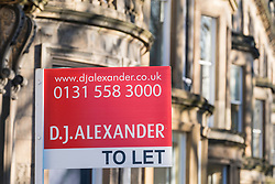 Home for Let sign outside property in New Town of Edinburgh, Scotland, United Kingdom.