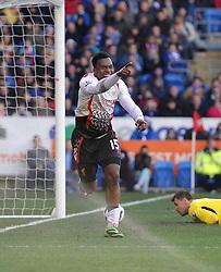 Liverpool's Daniel Sturridge celebrates bios goal. - Photo mandatory by-line: Alex James/JMP - Mobile: 07966 386802 22/03/2014 - SPORT - FOOTBALL - Cardiff - Cardiff City Stadium - Cardiff City v Liverpool - Barclays Premier League