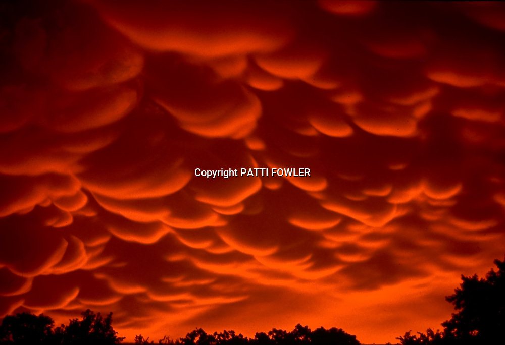 dramatic mammatus clouds at sunset