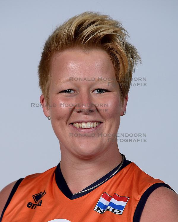 06-05-2014 NED: Selectie Nederlands zitvolleybal team vrouwen, Leersum<br /> In sporthal De Binder te Leersum werd het Nederlands team zitvolleybal seizoen 2014-2015 gepresenteerd / Marieke de Ruijter