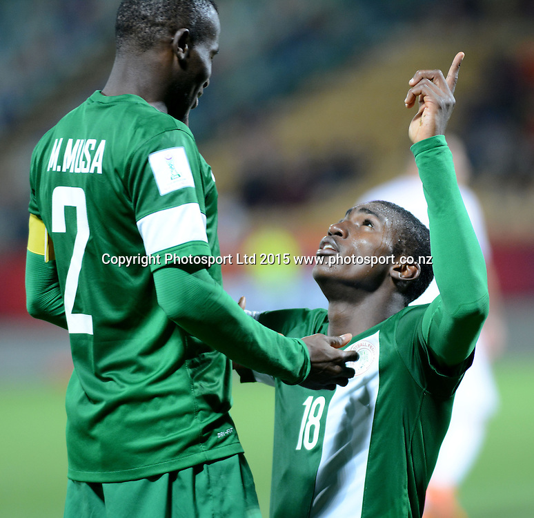 Nigeria's Taiwo Awoniyi celebrates scoring a goal with Musa Muhammed during the FIFA U-20 World Cup New Zealand. Hungary vs Nigeria, played at Stadium Taranaki, New Plymouth NZ, Sunday 7th June 2015.  <br />  Photo John Velvin / ESPNZ