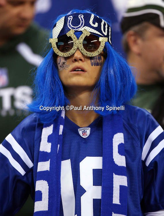 An Indianapolis Colts fan decked out in colts sunglasses and a team jersey and blue wig during the AFC Championship football game against the New York Jets, January 24, 2010 in Indianapolis, Indiana. The Colts won the game 30-17. ©Paul Anthony Spinelli
