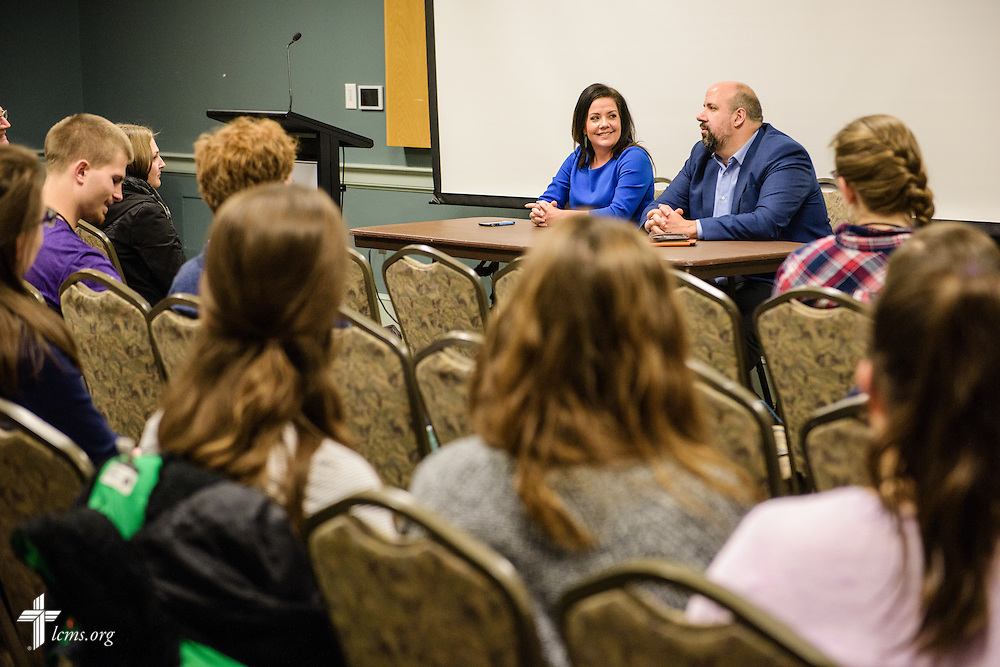 Mollie Ziegler Hemingway, senior editor at The Federalist, joins her husband Mark Hemingway, senior writer at The Weekly Standard, as they carry a discussion at the Liberty National LCMS Campus Ministry Conference on Wednesday, Jan. 4, 2017, at the University of Maryland in College Park, Md. LCMS Communications/Erik M. Lunsford