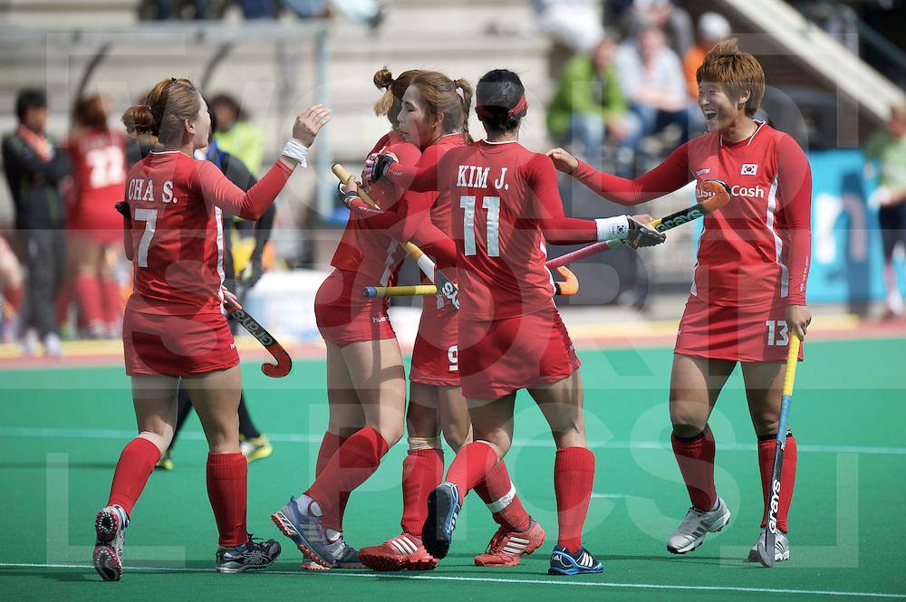 ROTTERDAM - Hock World League Semi Final Women<br /> Japan v Korea<br /> foto: Korea celebrate winning goal.<br /> FFU PRESS AGENCY COPYRIGHT FRANK UIJLENBROEK