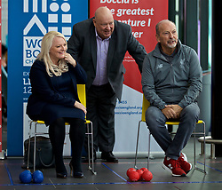 LIVERPOOL, ENGLAND - Wednesday, August 15, 2018: Everton's Chief Executive Professor Denise Barrett-Baxendale (left) and Liverpool FC's Chief Executive Peter Moore (right) with Mayor of Liverpool Joe Anderson as they practice playing Boccia at the BISFed 2018 Word Boccia Championships in the Liverpool Exhibition Centre. (Pic by David Rawcliffe/Propaganda)