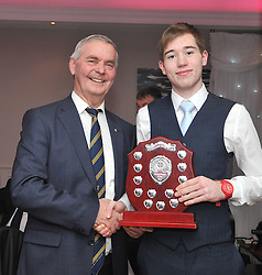 Special guest at the Kilmeena Club celebration night Brian McEniff presented Minor player of the Year Award to Conor Madden. <br />Pic Conor McKeown