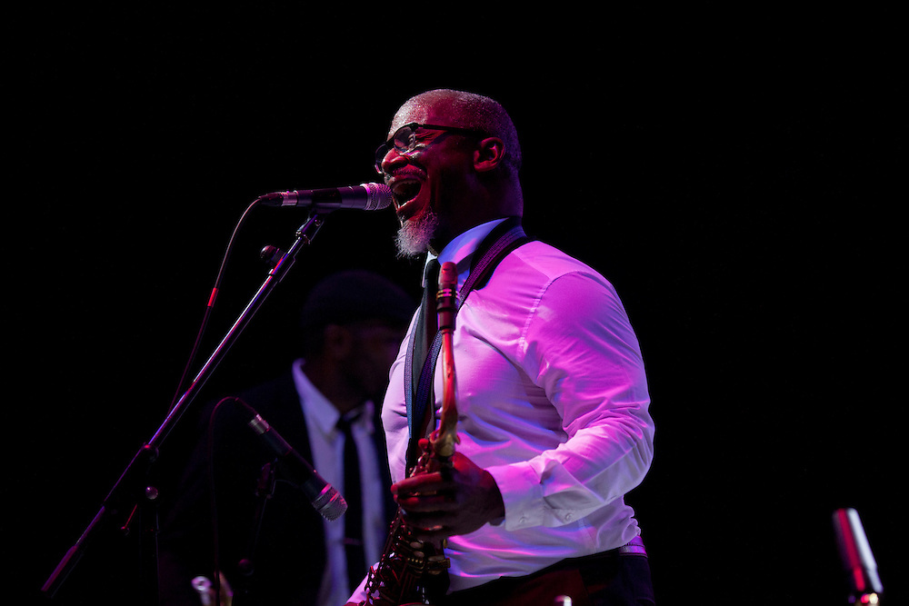 Saxophonist Karl Denson performs with his band, Karl Denson's Tiny Universe, at Camp Euforia on Friday, July 17, 2015.