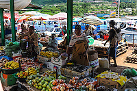 Market in Manzini, the nation's second largest city and main industrial centre. The Kingdom of Swaziland in Southern Africa, bordered by South Africa and Mozambique.
