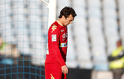 07.04.2012, Stadion Coliseum Alfonso Perez, Getafe, ESP, Primera Division, FC Getafe vs Sporting Gijon, 32. Spieltag, im Bild Sporting de Gijon's Miguel de las Cuevas dejected // during the football match of spanish 'primera divison' league, 32th round, between FC Getafe and Sporting Gijon at Coliseum Alfonso Perez stadium, Getafe, Spain on 2012/04/07. EXPA Pictures © 2012, PhotoCredit: EXPA/ Alterphotos/ Alvaro Hernandez..***** ATTENTION - OUT OF ESP and SUI *****