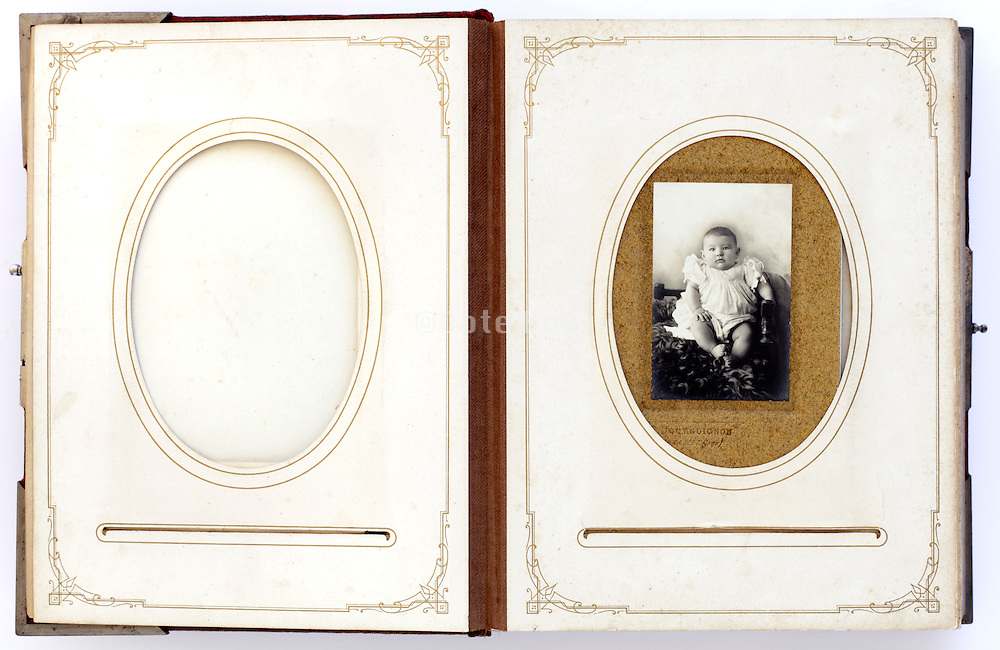 open vintage photo album from late 1800s