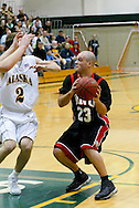 1/13/2006: Marcus Clift of the Northwest Nazarene University Crusaders in the Alaska Anchorage comeback victory over Northwest Nazarene, 60-57, in men?s basketball action at the Wells Fargo Sports Complex on Saturday.