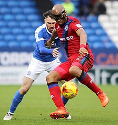 Calvin Andrew of Rochdale holds off Michael Smith of Peterborough United - Mandatory by-line: Joe Dent/JMP - 25/02/2017 - FOOTBALL - ABAX Stadium - Peterborough, England - Peterborough United v Rochdale - Sky Bet League One