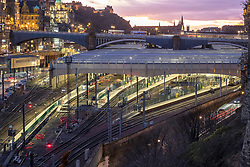 Night view of Waverley railway station in Edinburgh, Scotland, United Kingdom