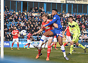 Gillingham forward, and goalscorer, Dominic Samuel in action in the six yard box during the Sky Bet League 1 match between Gillingham and Crewe Alexandra at the MEMS Priestfield Stadium, Gillingham, England on 12 March 2016. Photo by David Charbit.