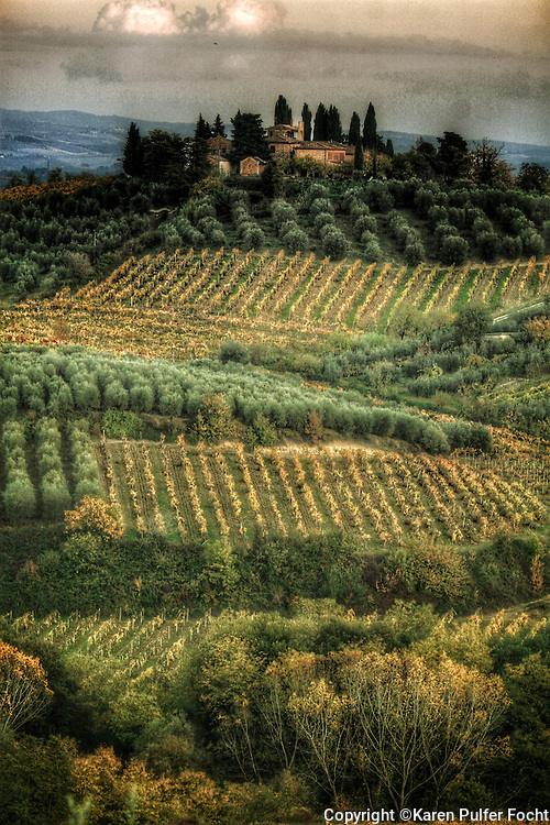 Scenic Hills and Vineyards in Tuscany, Italy. European art.