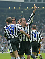 Photo. Andrew Unwin.<br /> Newcastle United v Wolverhampton Wanderers, FA Barclaycard Premier League, St James Park, Newcastle upon Tyne 09/05/2004.<br /> Newcastle's Lee Bowyer celebrates scoring his team's first goal.