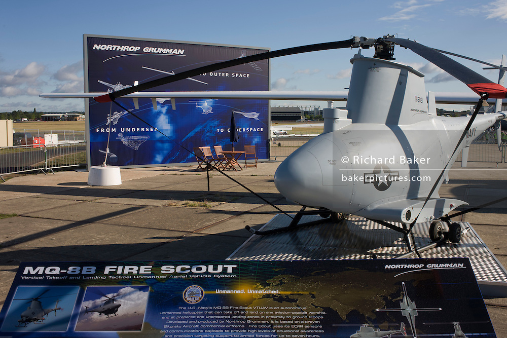 A Northrup Grumman US Air Force MQ-8B Fire Scout surveillance UAV helicopter exhibited at the Farnborough Airshow.