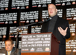 December 11, 2007; New York, NY, USA;  Promoter Lou DiBella speaks at the press conference announcing the rematch between Unbeaten World Middleweight Champion Kelly Pavlik and former champion Jermain Taylor, which will take place Saturday, February 16, 2008, at MGM Grand in Las Vegas, NV.  Taylor missed attending the press conference due to the birth of his baby girl on Monday evening.
