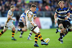 Jimmy Gopperth of Wasps puts boot to ball - Mandatory byline: Patrick Khachfe/JMP - 07966 386802 - 04/03/2017 - RUGBY UNION - The Recreation Ground - Bath, England - Bath Rugby v Wasps - Aviva Premiership.