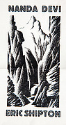 Nanda Devi by Eric Shipton, cover of original prospectus for this famous 1936 book on Himalayan exploration, illustration of Rishi Gorge India that protects Nanda Devi Sanctuary by Bip Pares.