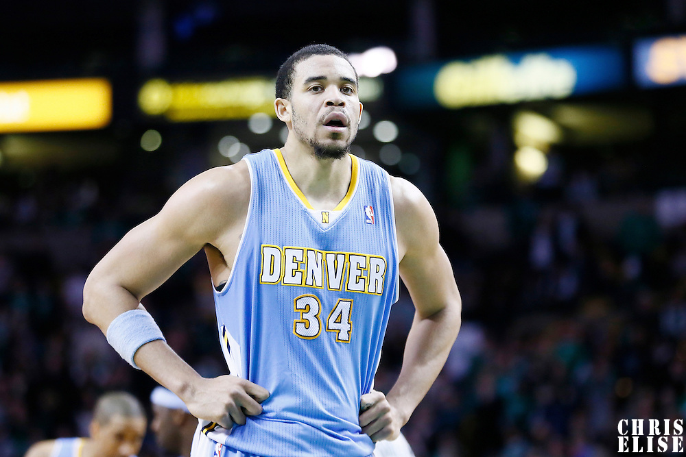 10 February 2013: Denver Nuggets center JaVale McGee (34) rests during the Boston Celtics 118-114 3OT victory over the Denver Nuggets at the TD Garden, Boston, Massachusetts, USA.