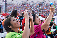 Volunteer Team while Closing Ceremony of the Special Olympics World Games Los Angeles 2015 at the Los Angeles Coliseum Stadium on ninth day, August 2, 2015 in Los Angeles, USA.<br /> <br /> USA, Los Angeles, August 2, 2015<br /> <br /> Picture also available in RAW (NEF) or TIFF format on special request.<br /> <br /> For editorial use only. Any commercial or promotional use requires permission.<br /> <br /> Adam Nurkiewicz declares that he has no rights to the image of people at the photographs of his authorship.<br /> <br /> Mandatory credit:<br /> Photo by © Adam Nurkiewicz / Mediasport